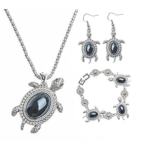 Image of Gorgeous Turtle Jewelry Set Jewelry Sets Black