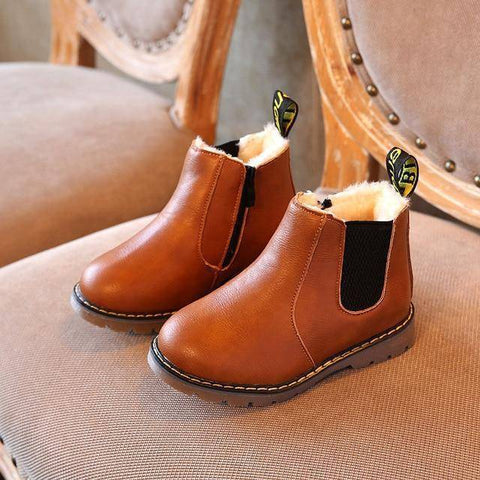 Image of Kid's Premium Eco Leather Boots Boots Brwon Fur 1