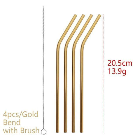 4PCS/Pack Colorful Stainless Steel Drinking Straws Drinking Straws Gold Bend