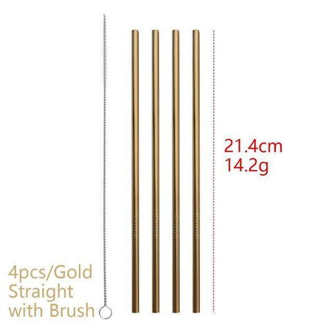 4PCS/Pack Colorful Stainless Steel Drinking Straws Drinking Straws Gold Straight