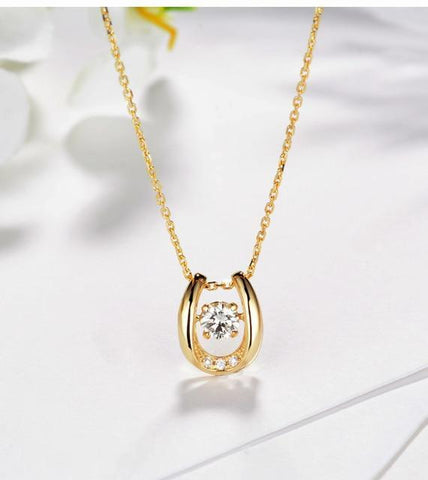 925 Sterling Silver Horseshoe Necklace with Brilliant CZ Centerpiece Pendant Necklaces Gold