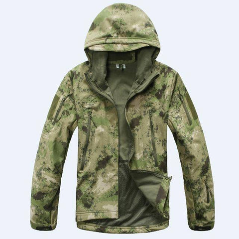 Image of Outdoor Softshell Jacket and Pants Hiking Jackets Green Camouflage S