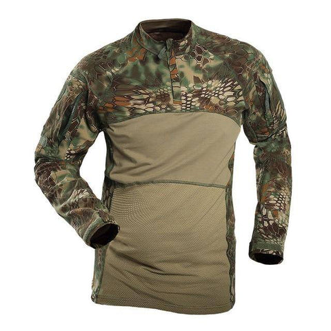 Image of Men's Long Sleeve Field Shirt T-Shirts Green Snake S
