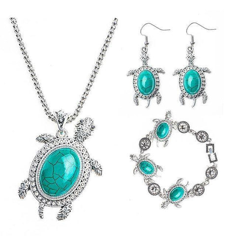 Image of Gorgeous Turtle Jewelry Set Jewelry Sets Green