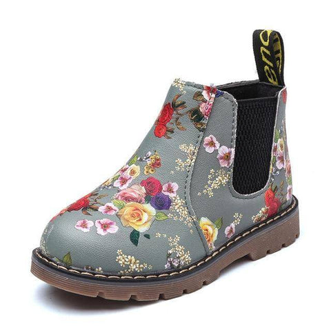 Image of Kid's Premium Eco Leather Boots Boots Grey Floral 1