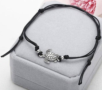 Turtle Shaped Anklet Anklets Black