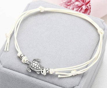 Turtle Shaped Anklet Anklets White