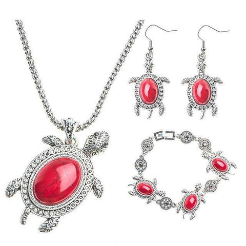 Image of Gorgeous Turtle Jewelry Set Jewelry Sets Red
