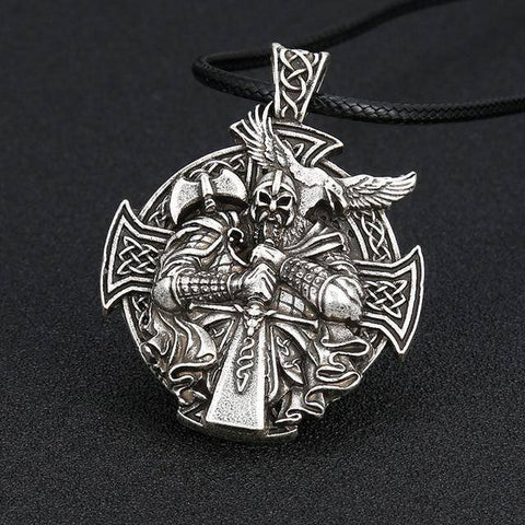 Image of Odin Necklace, Handcrafted Necklace Silver Leather Rope