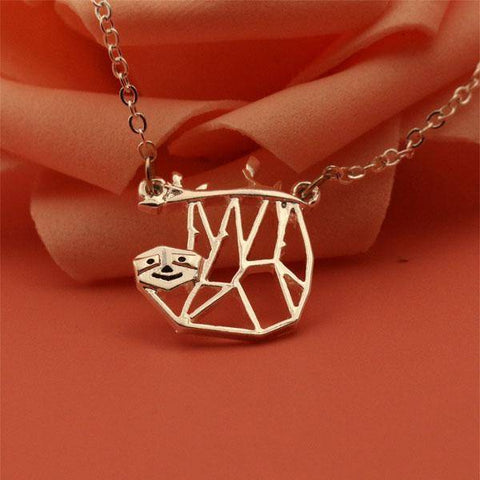Image of Geometric Hanging Sloth Necklace Pendant Necklaces Silver Plated