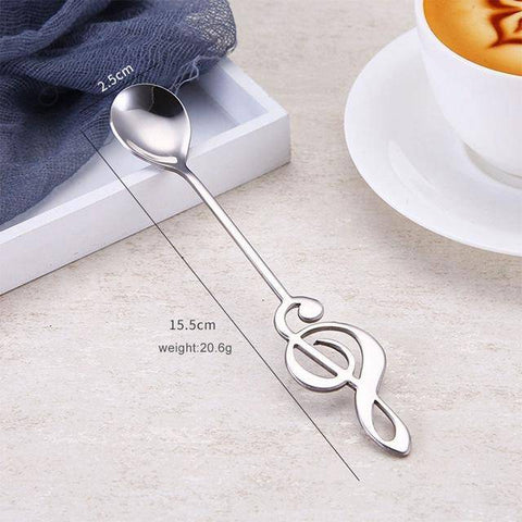 Image of Stainless Steel Treble Clef Spoon Coffee Scoops Silver