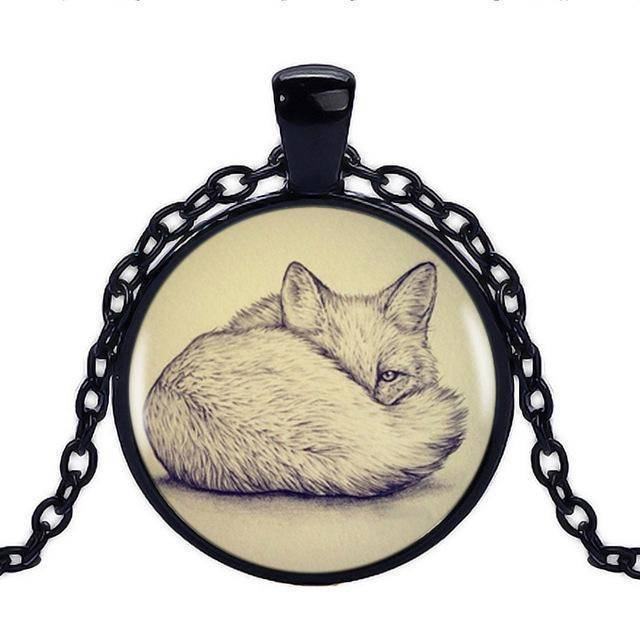 Fox Pendant with Silver Necklace Pendant Necklaces Black