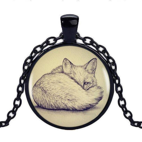 Image of Fox Pendant with Silver Necklace Pendant Necklaces Black