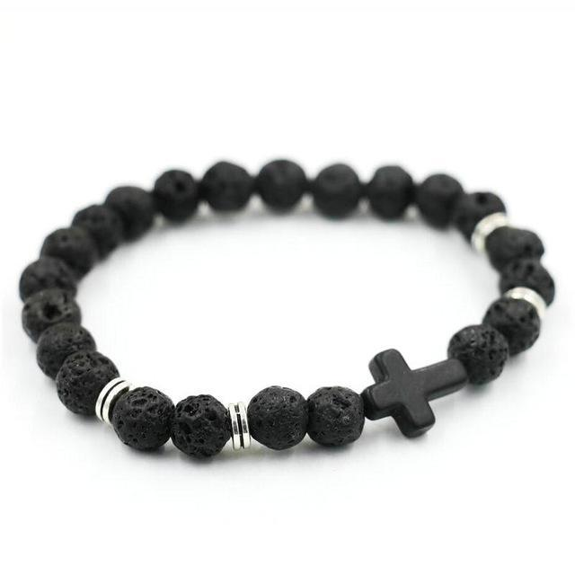 Natural Stone Cross Bracelet Strand Bracelets Black Lava
