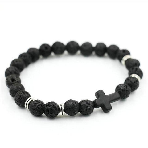 Image of Natural Stone Cross Bracelet Strand Bracelets Black Lava