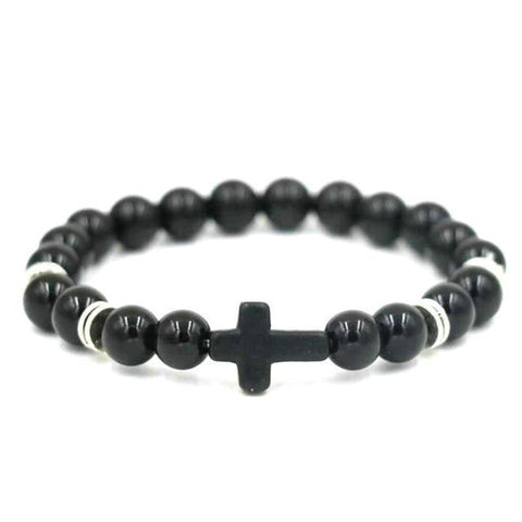 Image of Natural Stone Cross Bracelet Strand Bracelets Black Gloss
