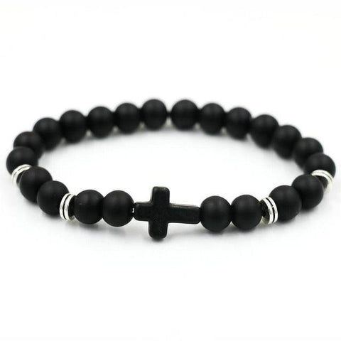 Image of Natural Stone Cross Bracelet Strand Bracelets Black Matte