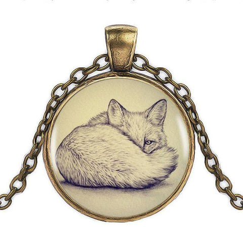 Fox Pendant with Silver Necklace Pendant Necklaces Bronze