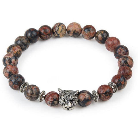 Cool Animal Bracelet with Lava Stone Beads Charm Bracelets dark red lion