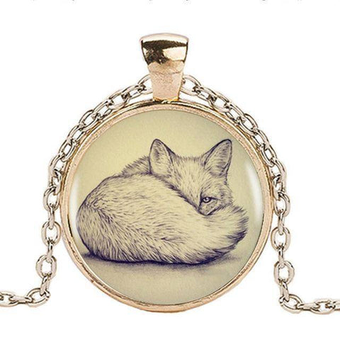 Image of Fox Pendant with Silver Necklace Pendant Necklaces Gold