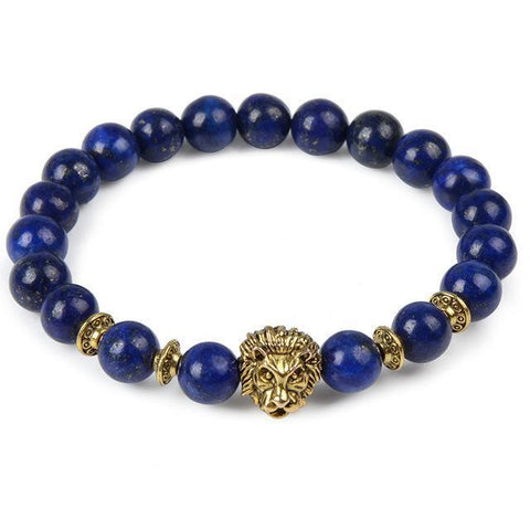 Image of Cool Animal Bracelet with Lava Stone Beads Charm Bracelets lapis lazuli lion