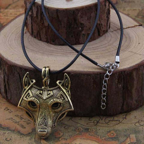 Image of Norse Vikings Pendant and Necklace with Wolf Head Pendant Necklaces Gold 50cm Cotton Cord