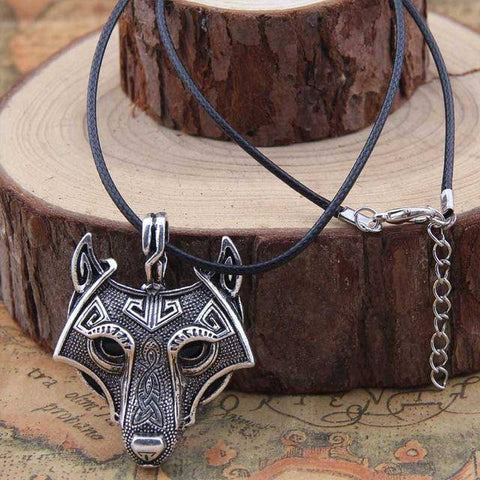 Image of Norse Vikings Pendant and Necklace with Wolf Head Pendant Necklaces Silver 50cm Cotton Cord