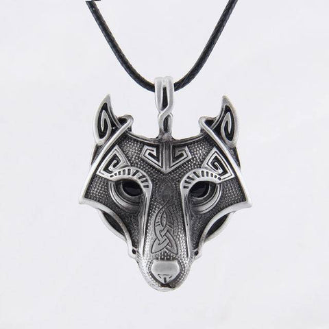Image of Norse Vikings Pendant and Necklace with Wolf Head Pendant Necklaces Silver 50cm Leather Cord