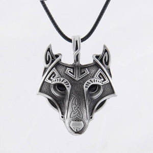 Norse Vikings Pendant and Necklace with Wolf Head Pendant Necklaces Silver 50cm Leather Cord