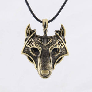Norse Vikings Pendant and Necklace with Wolf Head Pendant Necklaces Gold 50cm Leather Cord