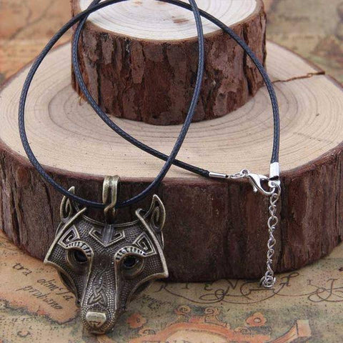 Image of Norse Vikings Pendant and Necklace with Wolf Head Pendant Necklaces Bronze 50cm Cotton Cord