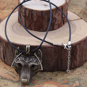 Norse Vikings Pendant and Necklace with Wolf Head Pendant Necklaces Bronze 50cm Cotton Cord
