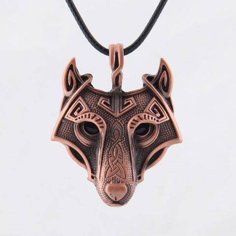 Image of Norse Vikings Pendant and Necklace with Wolf Head Pendant Necklaces Bronze 50cm Leather Cord