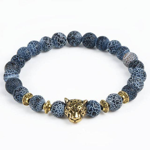 Cool Animal Bracelet with Lava Stone Beads Charm Bracelets leopard gold