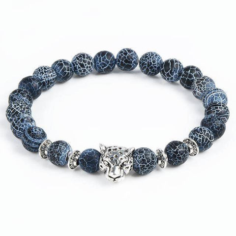 Image of Cool Animal Bracelet with Lava Stone Beads Charm Bracelets leopard silver