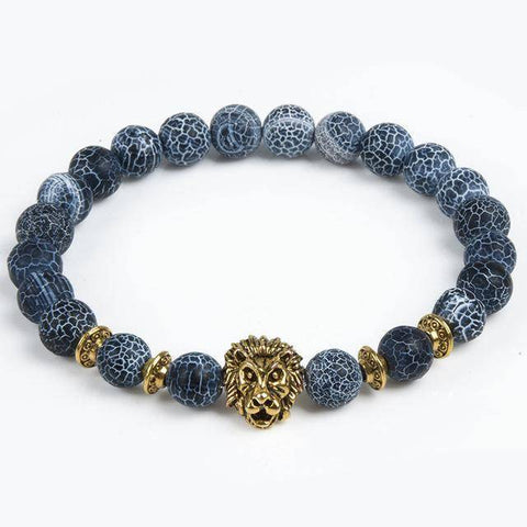 Image of Cool Animal Bracelet with Lava Stone Beads Charm Bracelets lion gold