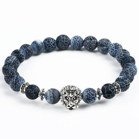 Image of Cool Animal Bracelet with Lava Stone Beads Charm Bracelets lion silver