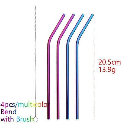 Image of 4PCS/Pack Colorful Stainless Steel Drinking Straws Drinking Straws Multicolor Bend