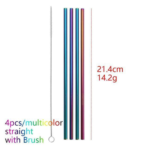 4PCS/Pack Colorful Stainless Steel Drinking Straws Drinking Straws Multicolor Straight