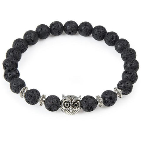 Image of Cool Animal Bracelet with Lava Stone Beads Charm Bracelets owl silver lava