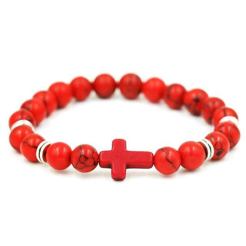 Image of Natural Stone Cross Bracelet Strand Bracelets Red