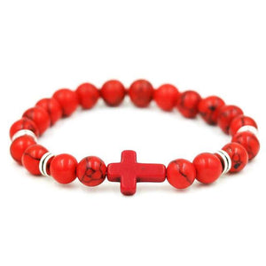 Natural Stone Cross Bracelet Strand Bracelets Red