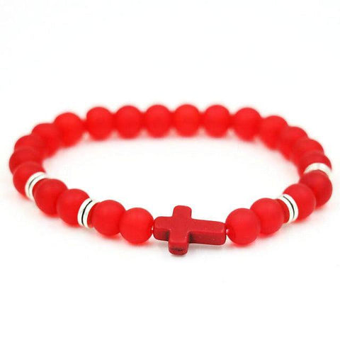 Image of Natural Stone Cross Bracelet Strand Bracelets Red Matte