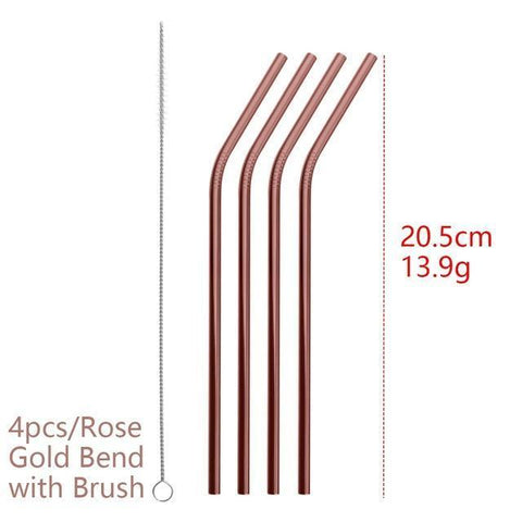 Image of 4PCS/Pack Colorful Stainless Steel Drinking Straws Drinking Straws Rose Gold Bend