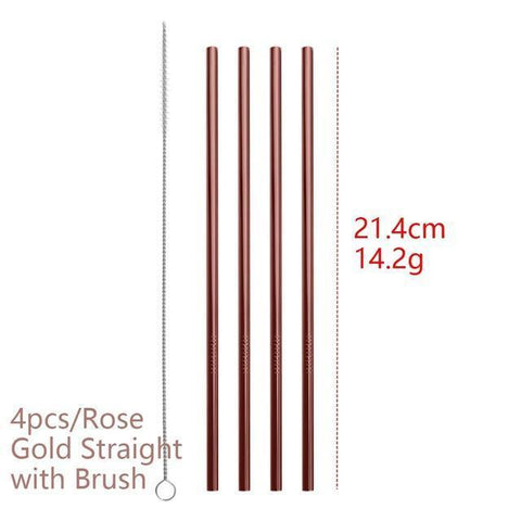 4PCS/Pack Colorful Stainless Steel Drinking Straws Drinking Straws Rose Gold Straight