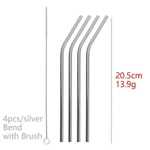 4PCS/Pack Colorful Stainless Steel Drinking Straws Drinking Straws Silver Bend