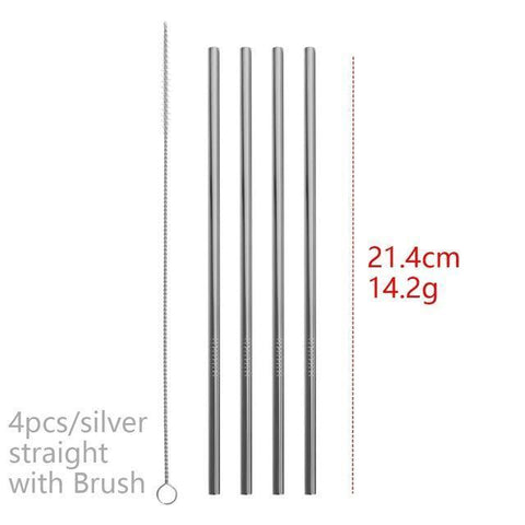 4PCS/Pack Colorful Stainless Steel Drinking Straws Drinking Straws Silver Straight