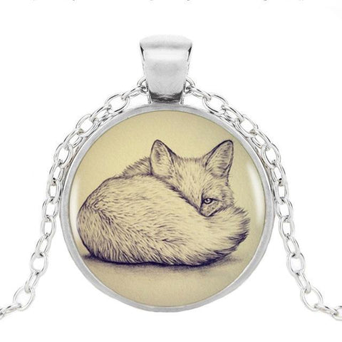 Image of Fox Pendant with Silver Necklace Pendant Necklaces Silver