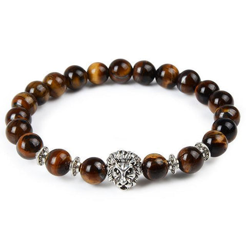 Image of Cool Animal Bracelet with Lava Stone Beads Charm Bracelets silver lion tigereye