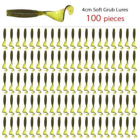 Image of 100pcs 4cm 1.5 inch Grub Fishing Lures size 4